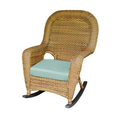 Sea Pines Mojave Wicker Outdoor Rocking Chair with Rave Spearmint Cushion