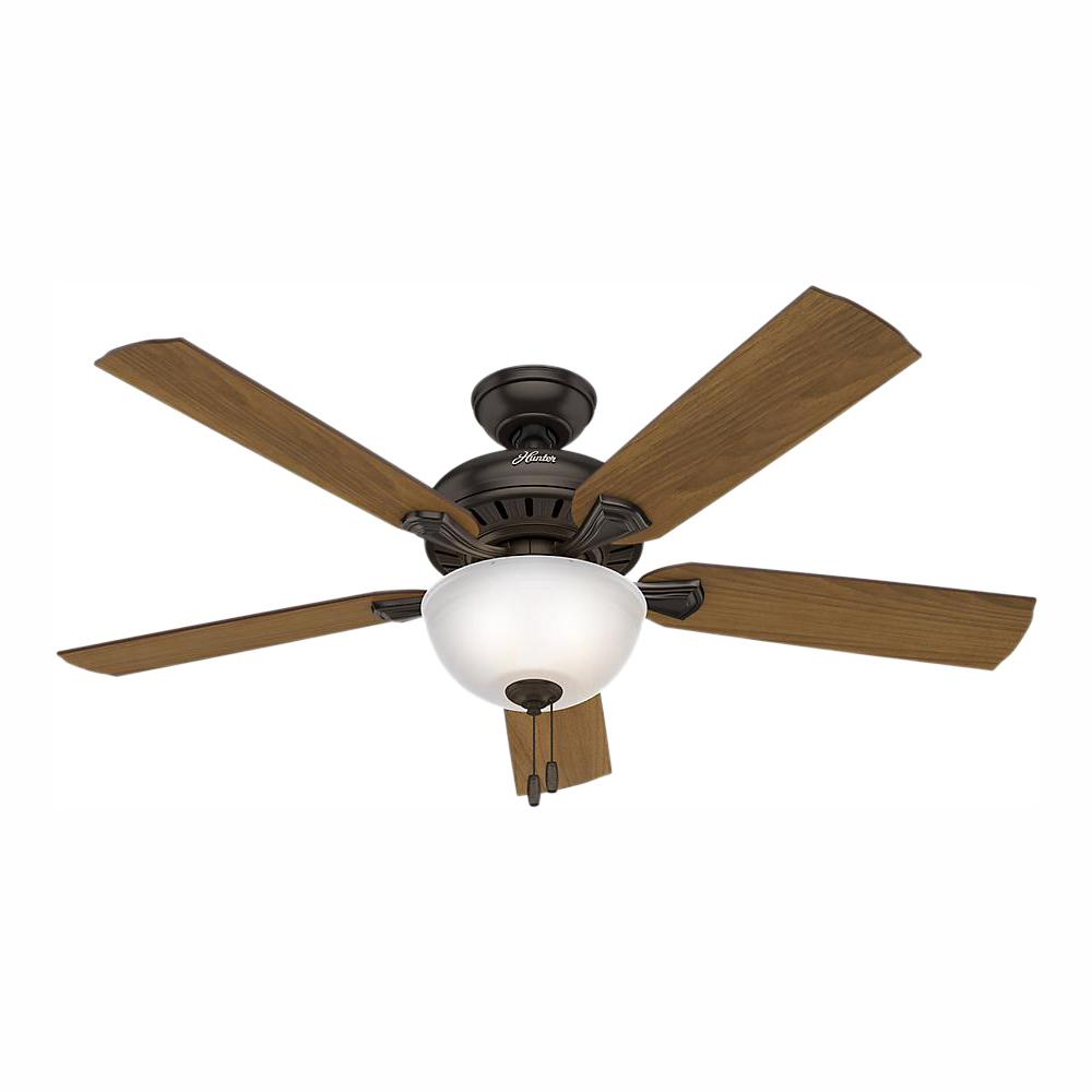 Hunter Teak Park 52 in. Indoor Premier Bronze Ceiling Fan with Light Kit