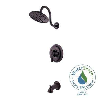Saxton 1-Handle Tub and Shower Faucet Trim Kit in Tuscan Bronze (Valve Not Included)