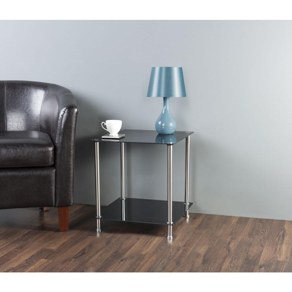 2 tier side end lamp accent table storage black glass chrome living room decor ebay Black glass side tables for living room
