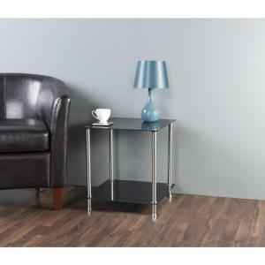 AVF Black Glass and Chrome 2-Tier Side / Lamp / End Table by AVF