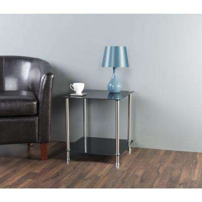 Black Glass and Chrome 2-Tier Side / Lamp / End Table
