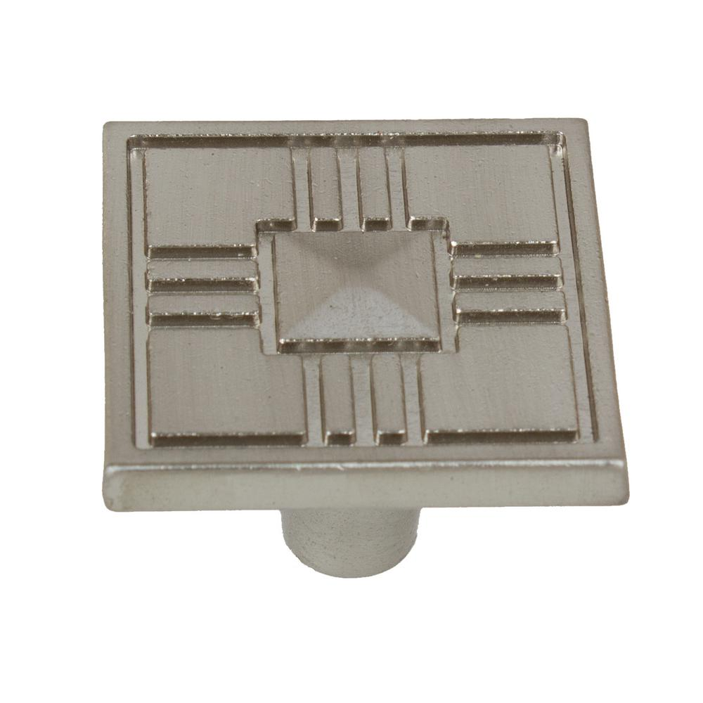 1-1/4 in. Satin Nickel Craftsman Collection Square Cabinet Knobs (10-Pack)