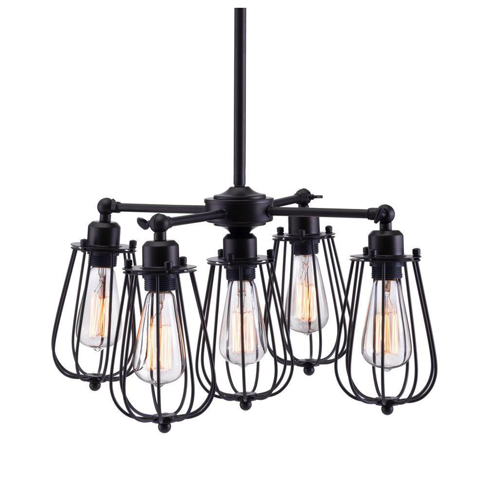 Porirua 5-Light Distressed Black Ceiling Lamp