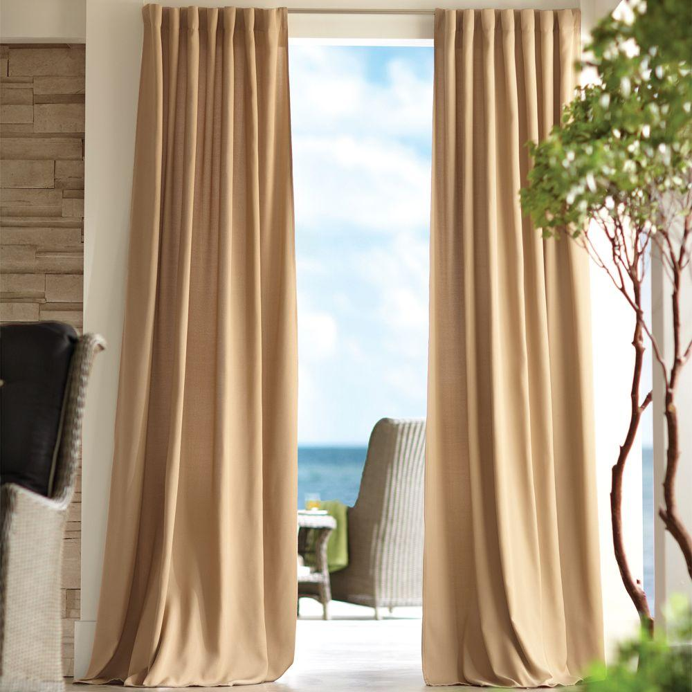 Home Decorators Collection Semi-Opaque Khaki Outdoor Back Tab Curtain (Price Varies by Size)