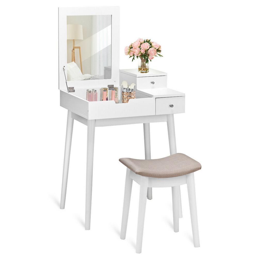 Costway 2 Piece White Living Room Set Vanity Dressing Table