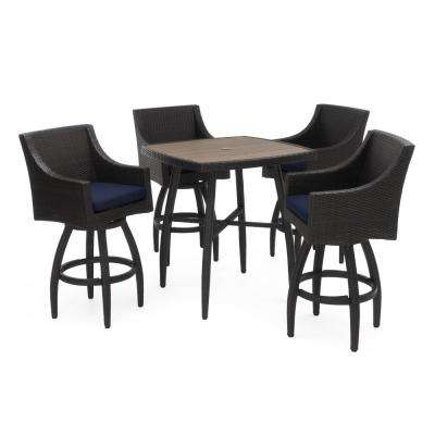 Deco 5-Piece Wicker Square Outdoor Bar Height Dining Set with Sunbrella Navy Blue Cushions