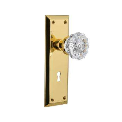 New York Plate Interior Mortise Crystal Glass Door Knob in Unlacquered Brass