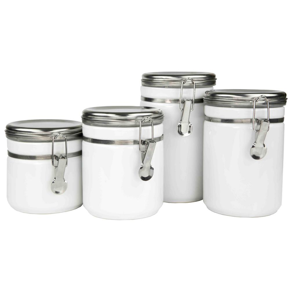 stainless steel canister sets kitchen home basics 4 piece canister set with stainless steel tops cs44771 the home depot 7731