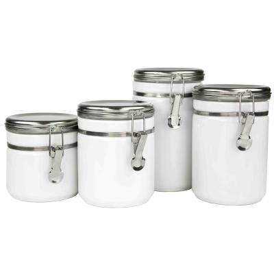 4-Piece Canister Set with Stainless Steel Tops