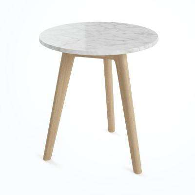 Amalia White Marble Top with Light Brown Solid Wood Accent Table