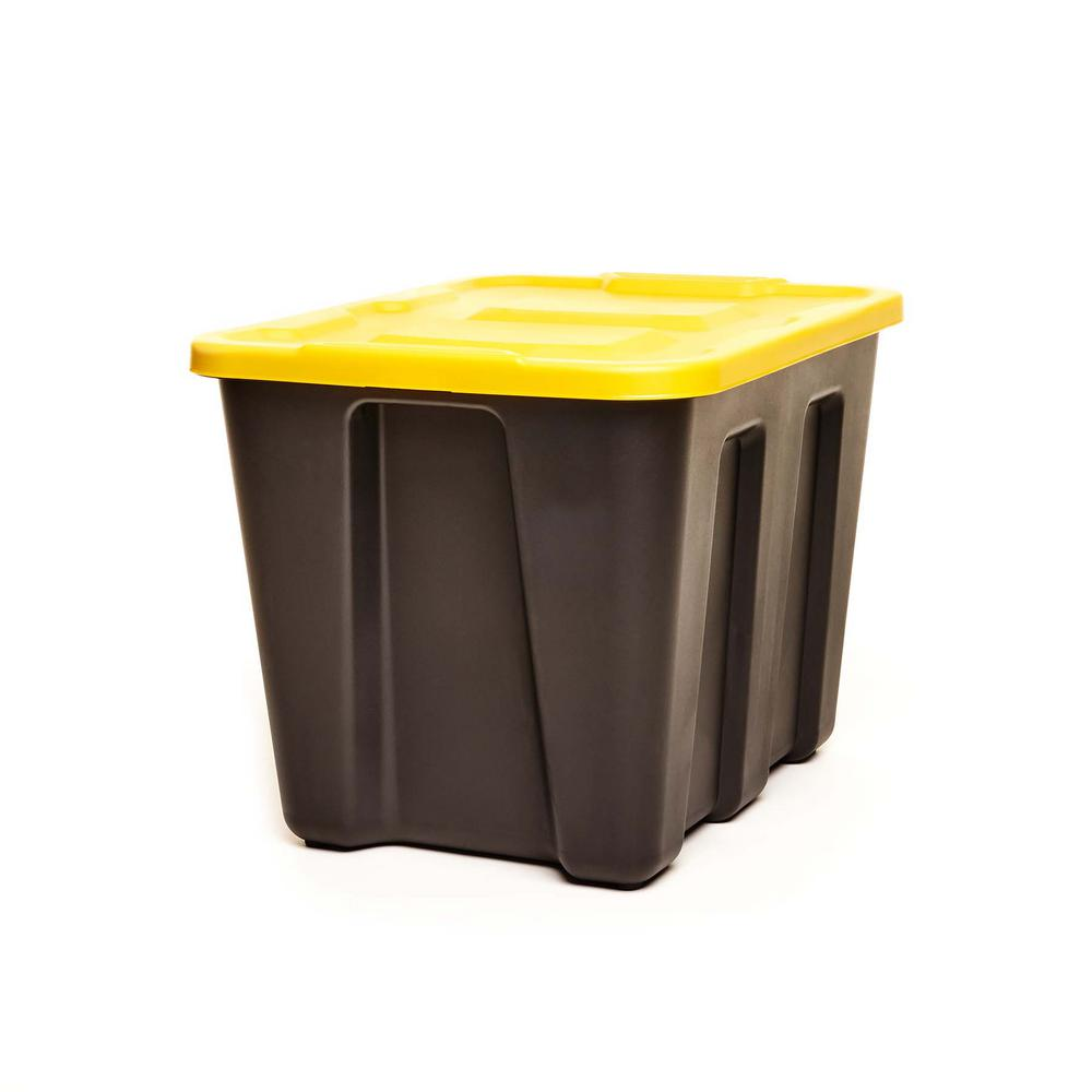 HOMZ Durabilt 18 Gallon LLDPE Storage Container, Black Base with Yellow Lid, Set of 4