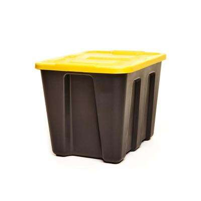 Durabilt 18 Gallon LLDPE Storage Container, Black Base with Yellow Lid, Set of 4