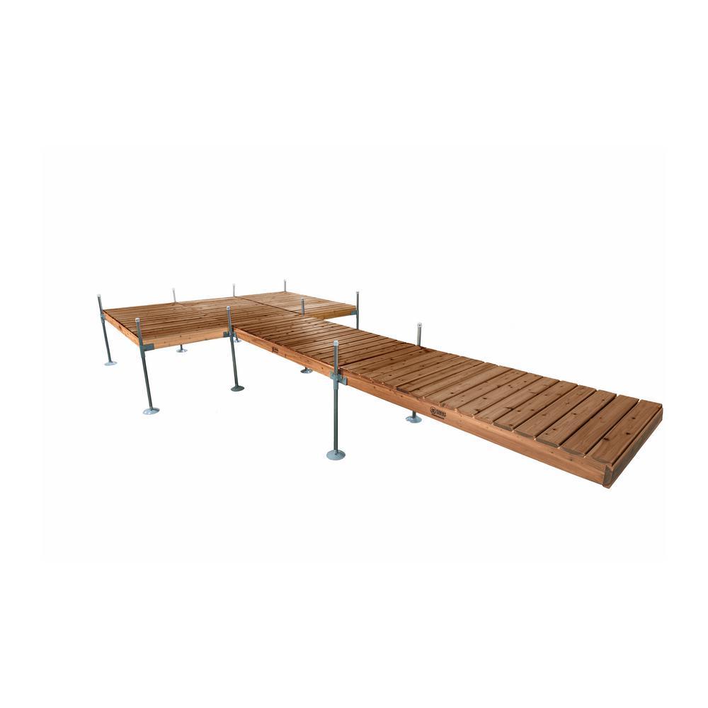 Tommy Docks 24 ft. L with 8 ft. x 12 ft. Platform Style Cedar Complete Dock Package