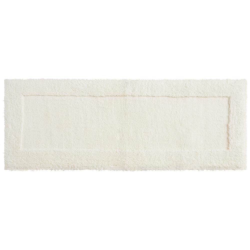 Dynasty 24 in. x 60 in. Micro Denier Polyester Runner Bath Rug in Parchement