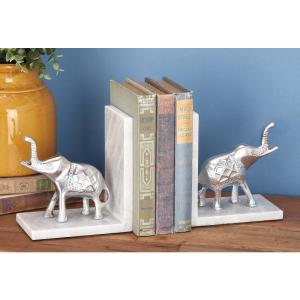 7 inch x 7 inch Aluminum and Marble Elephant Bookends by