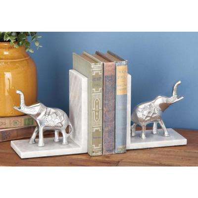 7 in. x 7 in. Aluminum and Marble Elephant Bookends