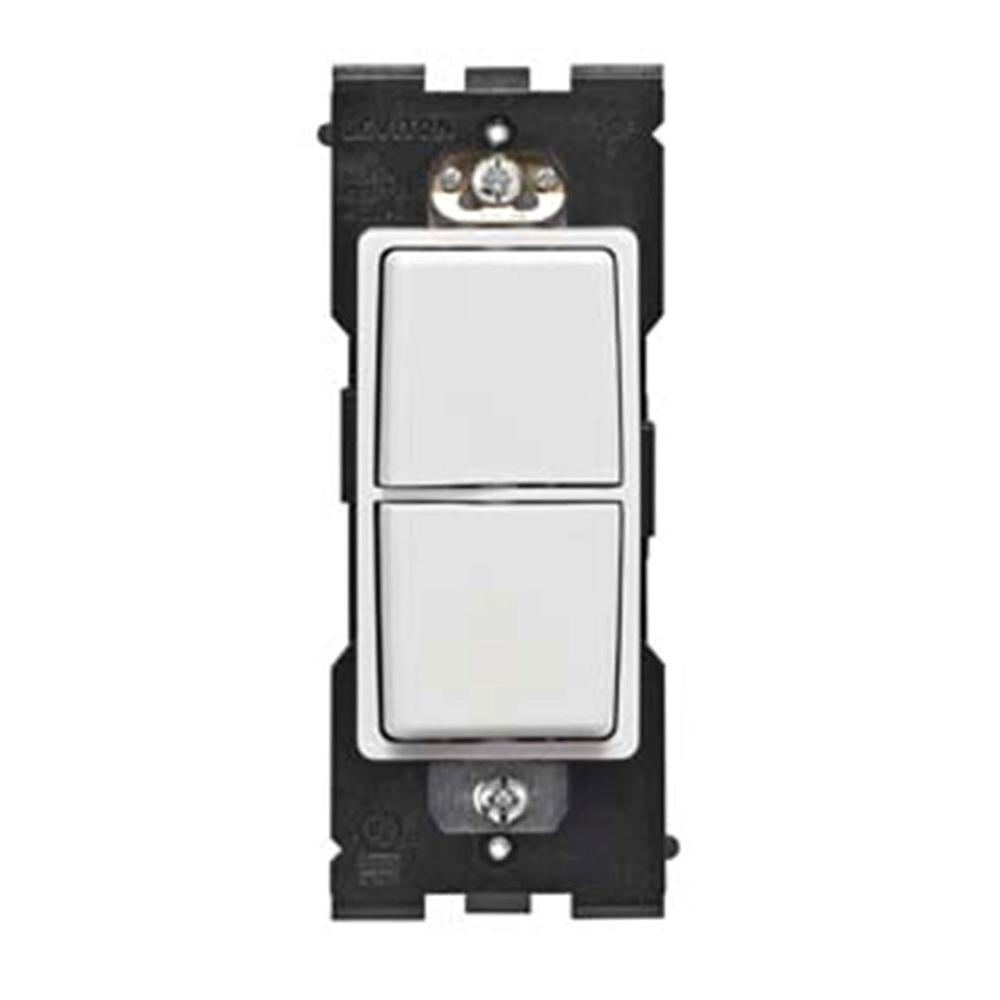 Leviton Renu 15 Amp Dual Combo Single Pole Rocker Switch - White on White-DISCONTINUED