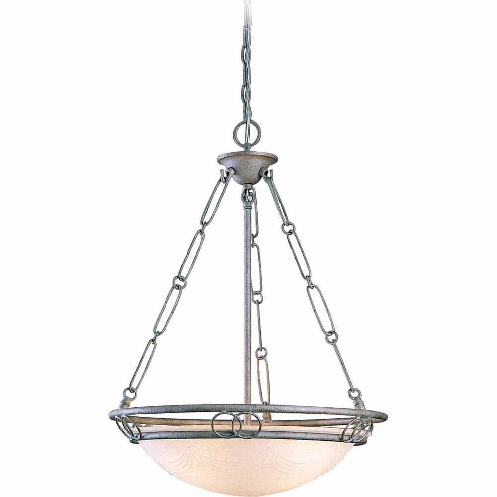 Lenor 3-Light Platinum Rust Incandescent Ceiling Chandelier