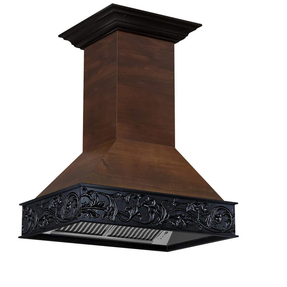 ZLINE Kitchen and Bath 36 in. Wooden Island Mount Range Hood in ...