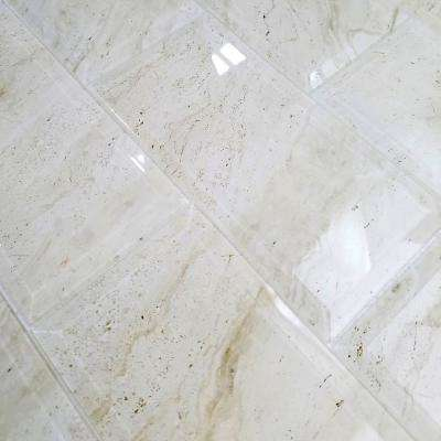 "Subway 4"" x 8"" Crema Marfil Beveled Glossy Stone Look Glass Peel & Stick Decorative Bathroom Wall Tile Backsplash Sample"