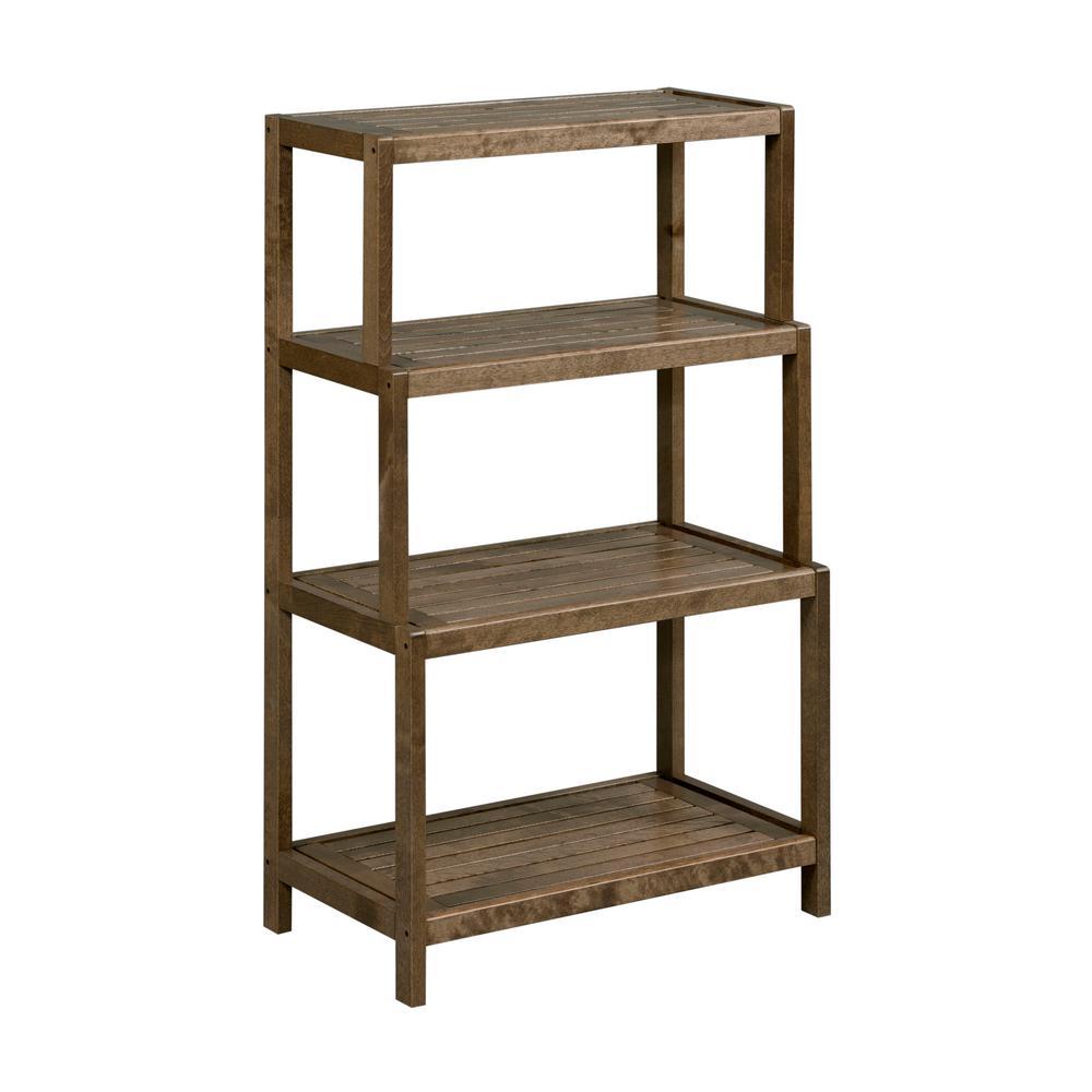 Dunnsville Antique Chestnut 4-Tier Low Ladder Shelf