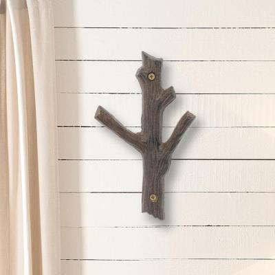 4 in. x7 in. Weathered Rust Cast Iron Tree Limb Wall Hook