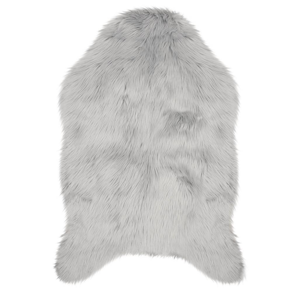Jean Pierre Faux-Fur Light Grey 4 Ft. X 2 Ft. Area Rug