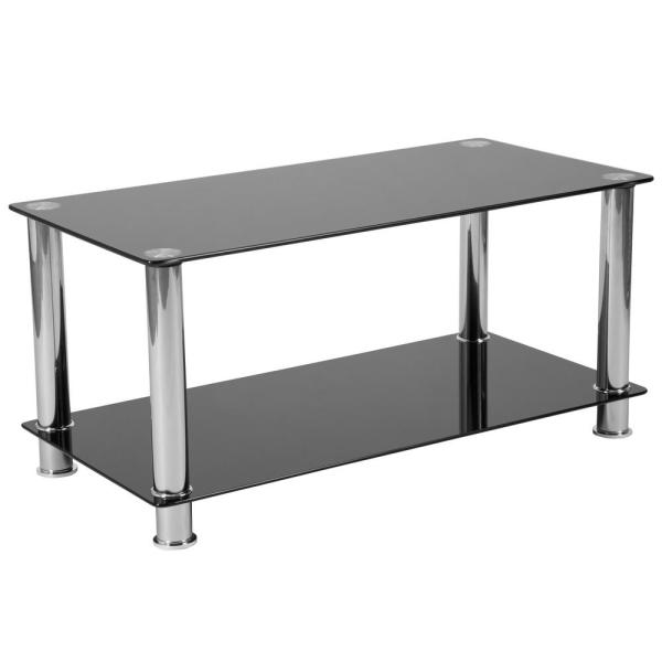 Black Top/Stainless Steel Frame Coffee Table