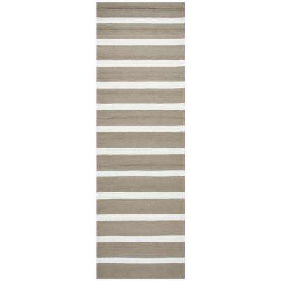 Azzura Hill Taupe Striped 3 ft. x 8 ft. Outdoor Runner Rug