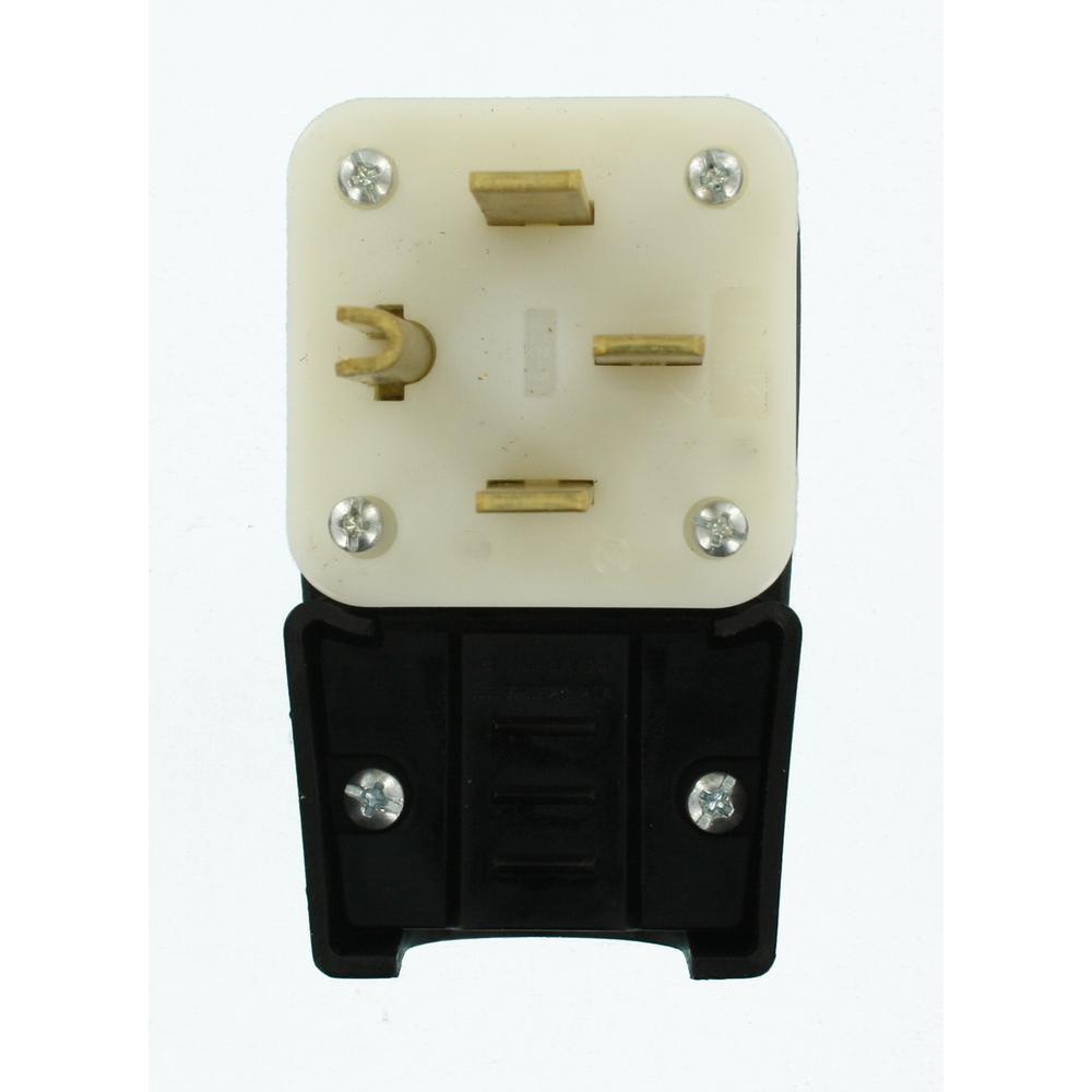 50 Amp 125/250-Volt Straight Blade Grounding Angle Plug, Black/White