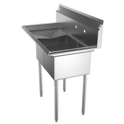 Freestanding Stainless Steel 43 in. 2-Hole Double Bowl Commercial Kitchen Sink