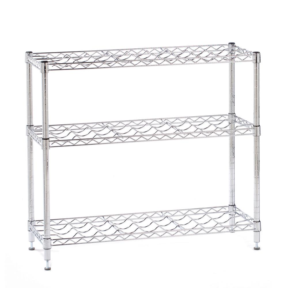 HDX 33 in. H x 36 in. W x 14 in. D 3-Tier Steel Wine Rack in Chrome