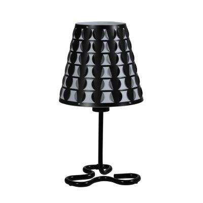 16 in. Traci Black Geometric Metal Table Lamp
