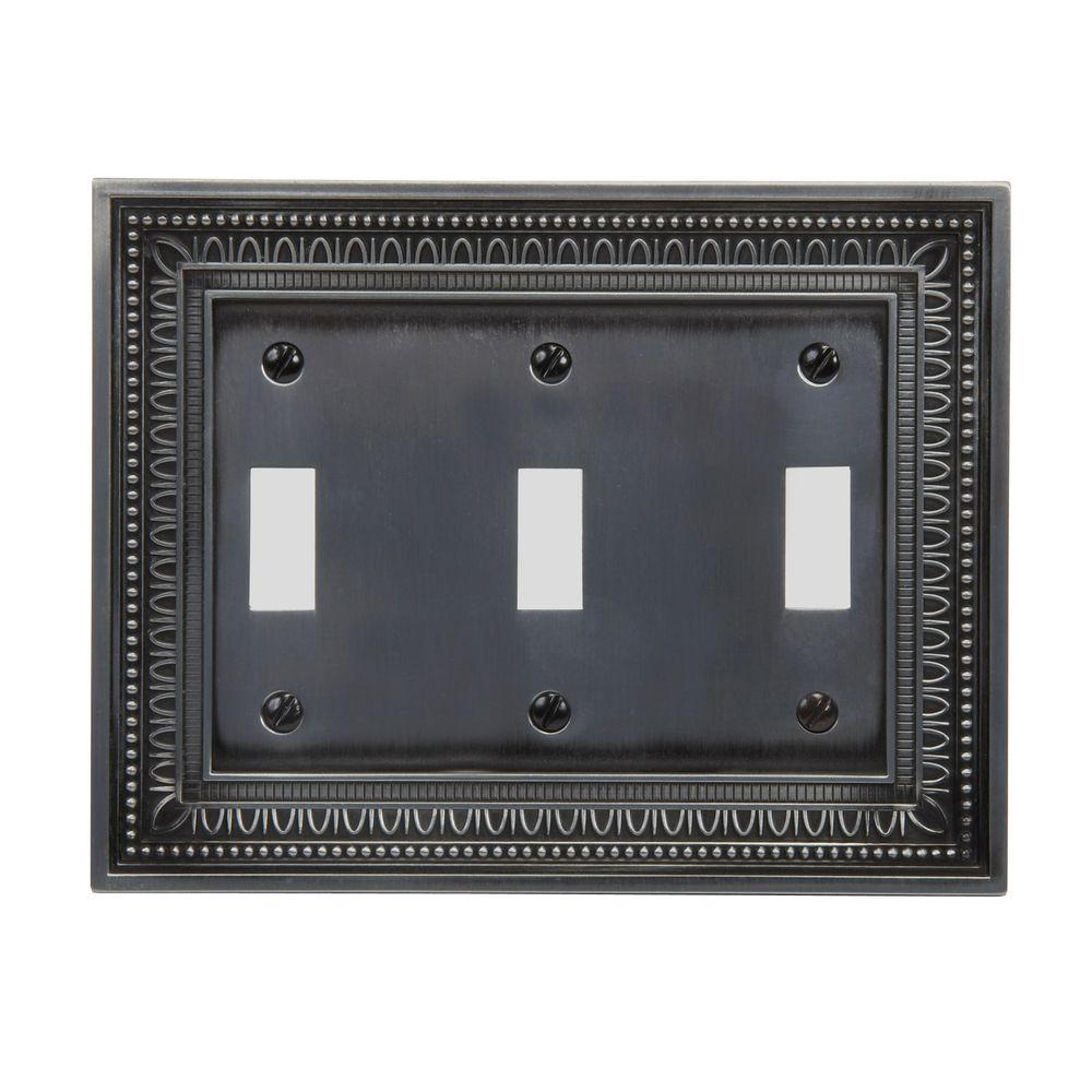 Amerelle Filigree 3 Toggle Wall Plate - Antique Nickel