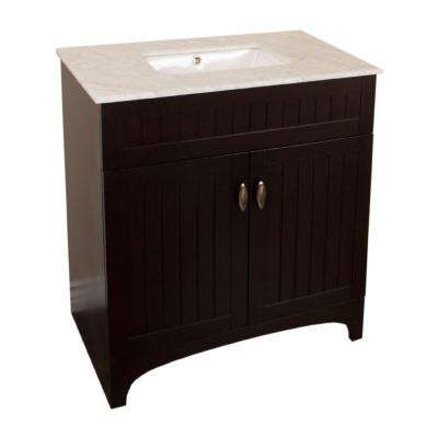 Ridgecrest 32 in. W x 22 in. D Single Vanity in Sable Walnut with Marble Vanity Top in White with White Basin