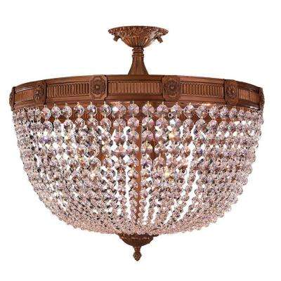 Winchester 9-Light French Gold and Clear Crystal Semi-Flush Mount Light