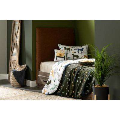DreamIt 2-Piece Safari Wild Cats White and Green Twin Comforter and Pillowcase Set
