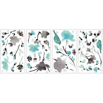 5 in. x 11.5 in. Blossom WaterColor Bird Branch Peel and Stick Wall Decal