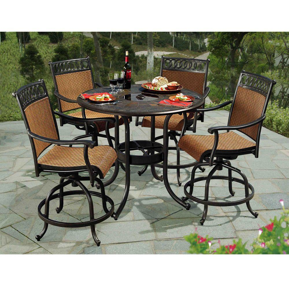 Sunjoy seabrook 5 piece patio high dining set l dn899sal a the home depot Home bar furniture amazon
