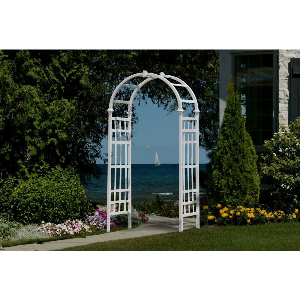 Superior New England Arbors Athens 81 In. X 36 In. White Vinyl Arbor