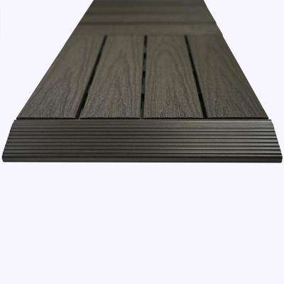 1/6 ft. x 1 ft. Composite Quick Deck Tile Straight Trim in Argentinian Silver (4-Pieces/Box)
