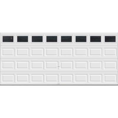 Classic Collection 16 ft. x 7 ft. 6.5 R-Value Insulated White Garage Door with Plain Window