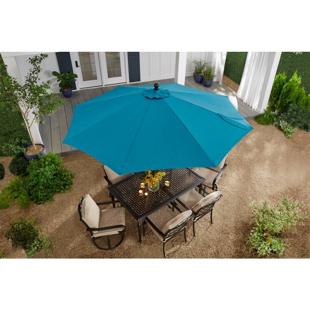 10 ft. Aluminum Auto-Tilt Market Outdoor Patio Umbrella in Emerald Coast