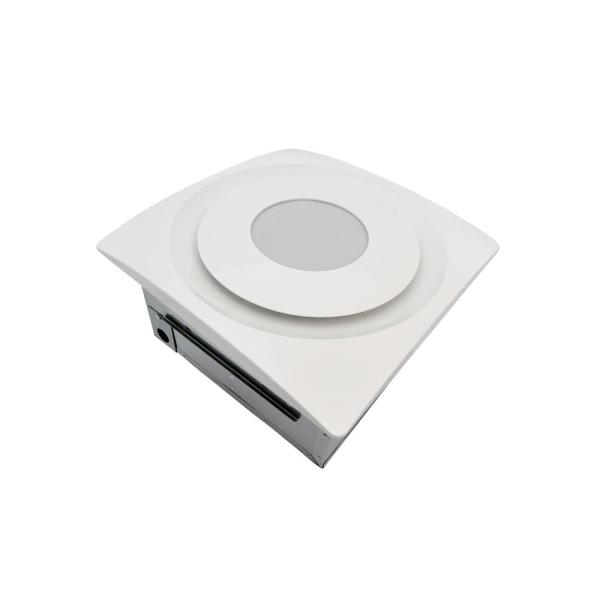 Slim Fit 90 CFM Bathroom Exhaust Fan with 10-Watt 4000K LED Light and Humidity Sensor Ceiling/Wall Mount White