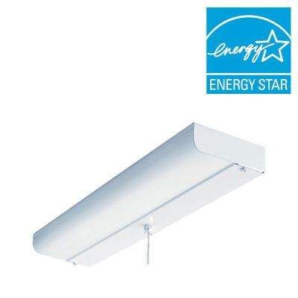 1-Light White Fluorescent Ceiling Closet Flushmount