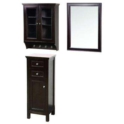 Gazette 42 in. L x 16 in. W Wall Mirror and Wall Cabinet with Glass Door and Floor Cabinet in Espresso
