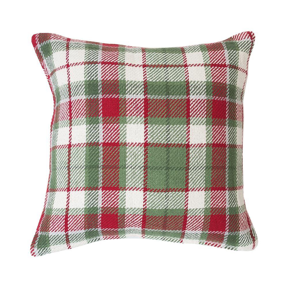 Owen Plaid Owen Green Plaid Down Alternative 18 in. x 18 in. Throw Pillow