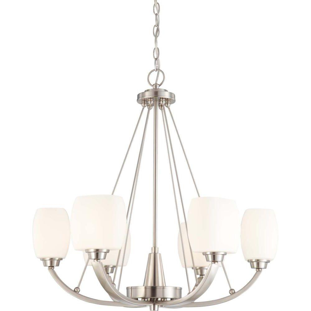 Glomar 6-Light Brushed Nickel Chandelier with Satin White Glass Shade