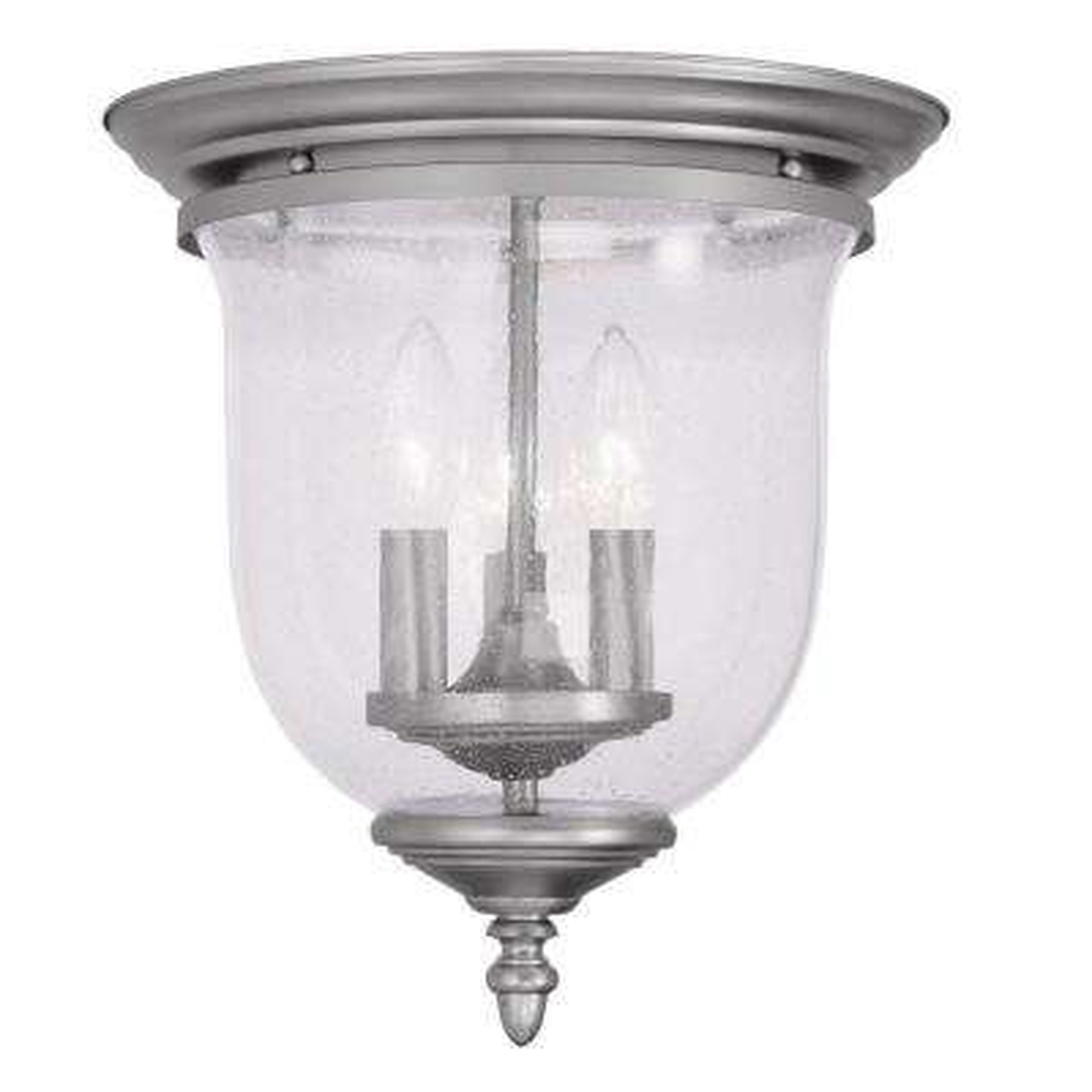 Providence 3-Light Brushed Nickel Incandescent Ceiling Flushmount